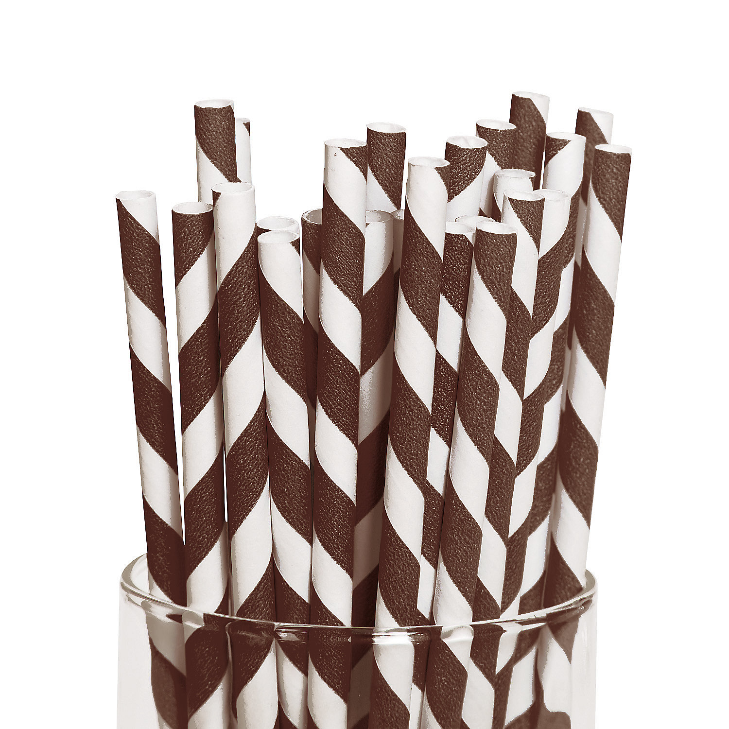 IN-13617380 Brown Striped Paper Straws 24 Piece(s)