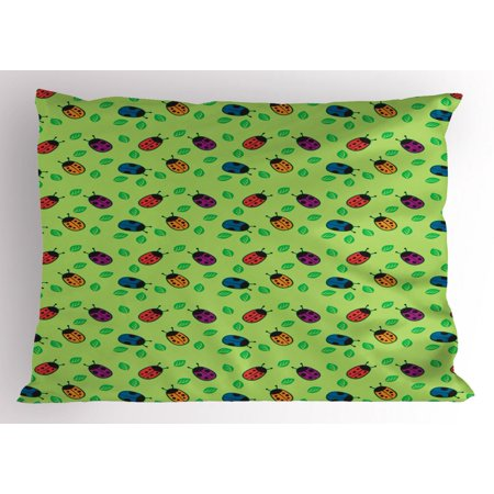 Ladybug Pillow Sham, Cute Little Bugs for Good Luck Wish Totem Leaves Nature Eco Girls Kids Children, Decorative Standard Size Printed Pillowcase, 26 X 20 Inches, Multicolor, by Ambesonne - Lucy For Kids