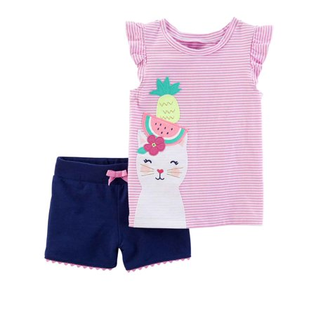 8d77f12bd Carters Infant & Toddler Girls Purple Kitty Cat Baby Outfit Shirt & Shorts  - Walmart.com
