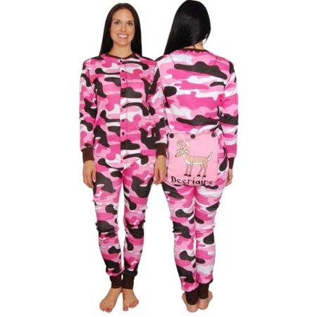 Lazy One Womens Pink Camo Flapjacks Adult Onesie