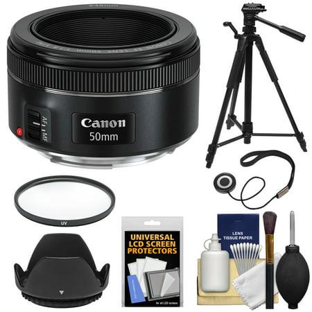 Canon EF 50mm f/1.8 STM Lens + Filter + Lens Hood + Tripod Kit for EOS 6D, 70D, 7D, 5DS, 5D Mark II III, Rebel T3, T3i, T5, T5i, T6i, T6s, SL1 (Canon Eos 550d Ef 50mm F 1-8 Ii)