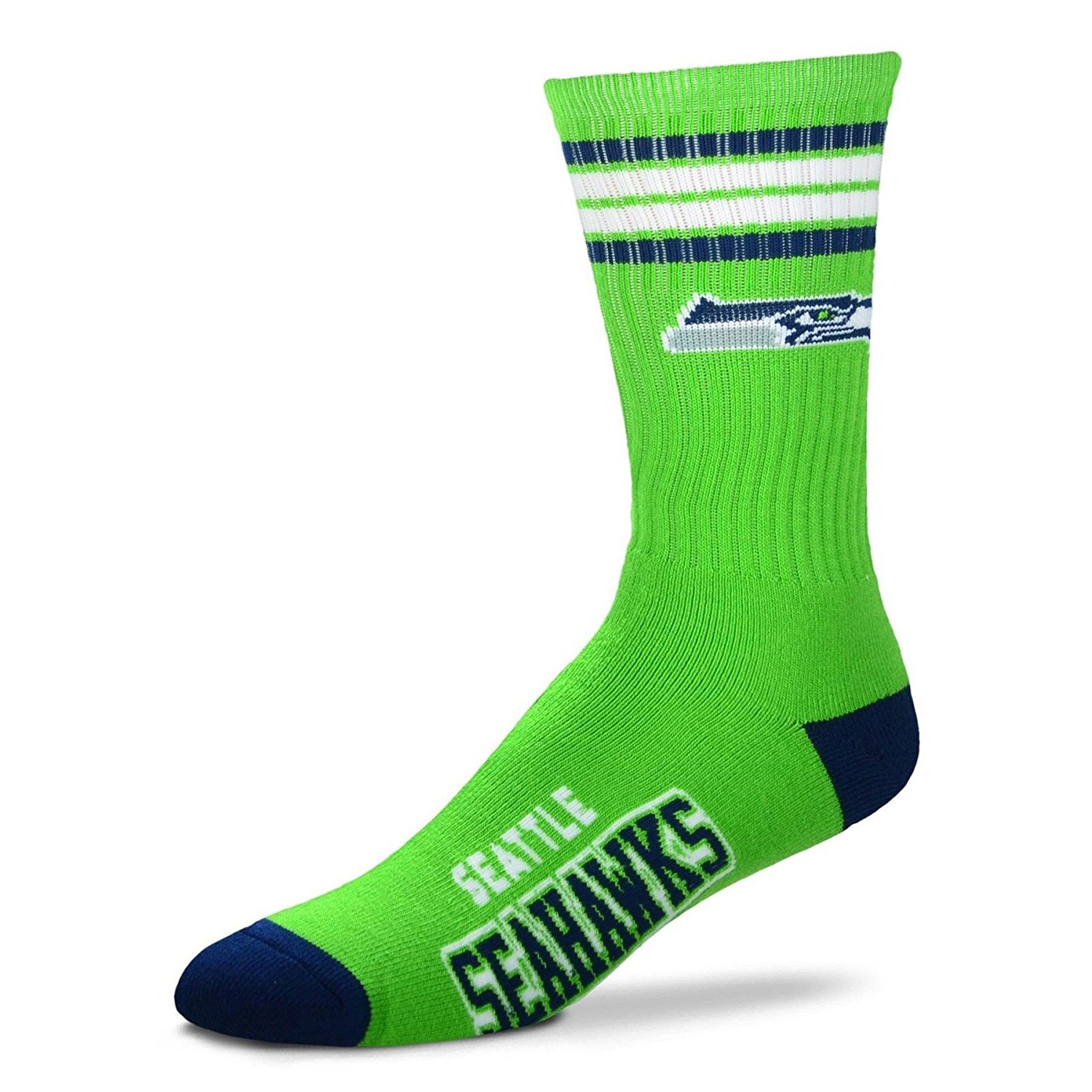 NFL 4 Stripe Deuce Crew Socks-New England Patriots-Medium, Made From: 83% Acrylic 14% Polyester 2% Rubber By For Bare Feet