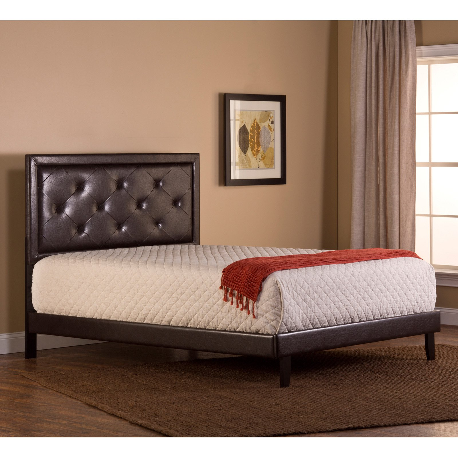 Hillsdale Furniture Becker Queen Headboard with Bedframe, Brown Faux Leather by Hillsdale