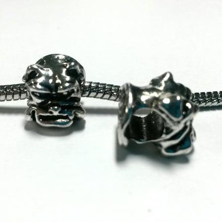 3 Beads - Bulldog Dog Mascot Silver European Bead Charm - Hot Dog Mascot