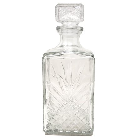 Diamond Cut Starburst Glass Whiskey Decanter Ornate Stopper Dishwasher Safe