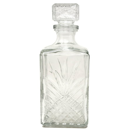 Glass Decanter (Diamond Cut Starburst Glass Whiskey Decanter Ornate Stopper Dishwasher Safe)