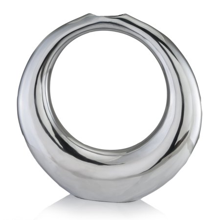 Crystal Modern Vase - Modern Day Accents Hoop Aro Chrome Table Vase