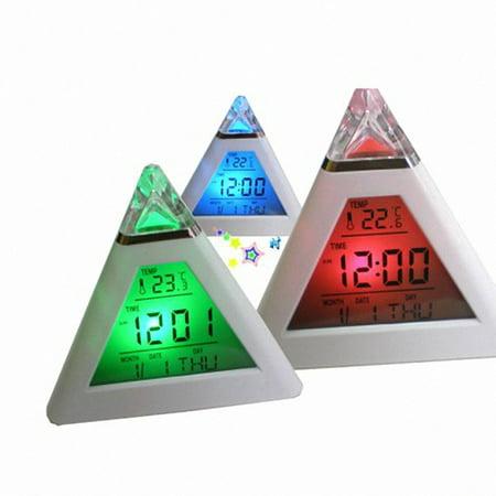 OkrayDirect Pyramid Temperature 7 Colors LED Change Backlight LED Moon Alarm (Moon Lcd Clock)