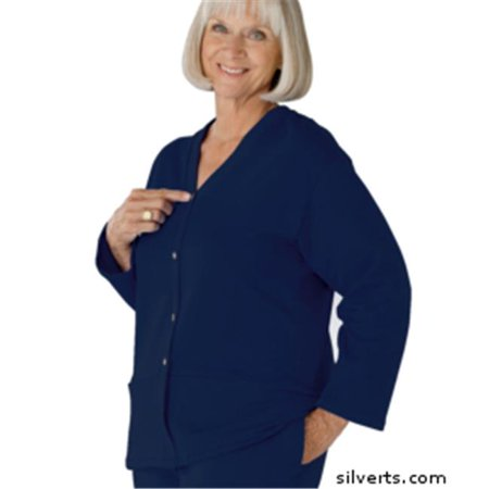 Silverts 232500203 Womens Open Back Adaptive Cardigan With Pockets - Medium, Navy