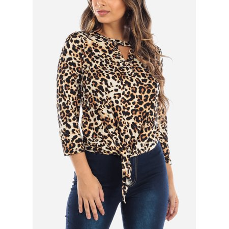 Womens Knot Tie Front Leopard Animal Print Top 40627B