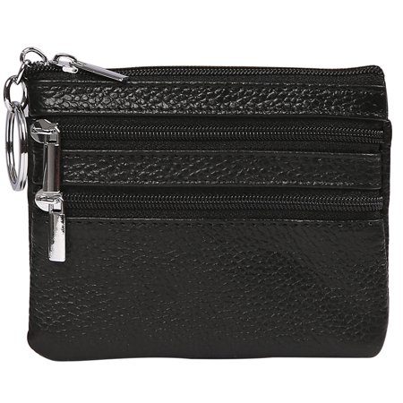 HDE Womens Leather Small Coin Purse Zipper Change Wallet Mini Pouch w/Key Ring (Black)