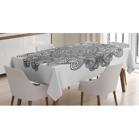 Rectangular Twist (Celtic Decor Tablecloth, Circular Ancient Celtic with Twisted Spirals and Lines Classic Cultural Print, Rectangular Table Cover for Dining Room Kitchen, 60 X 84 Inches, Black White, by Ambesonne )