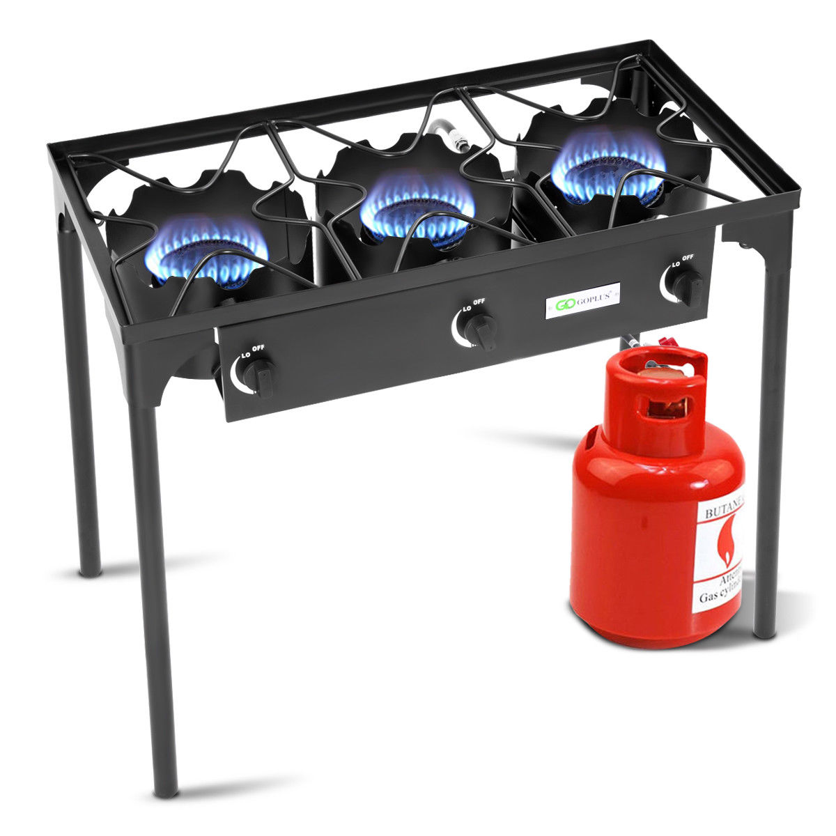 Goplus Portable Propane 225,000-BTU 3 Burner Gas Cooker Outdoor Camp Stove BBQ