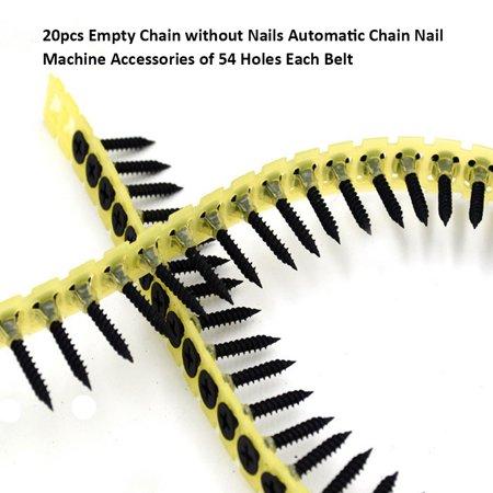 20pcs chaîne vide sans ongles accessoires automatiques de machine à clous de chaîne de 54 trous chaque ceinture - image 4 of 7