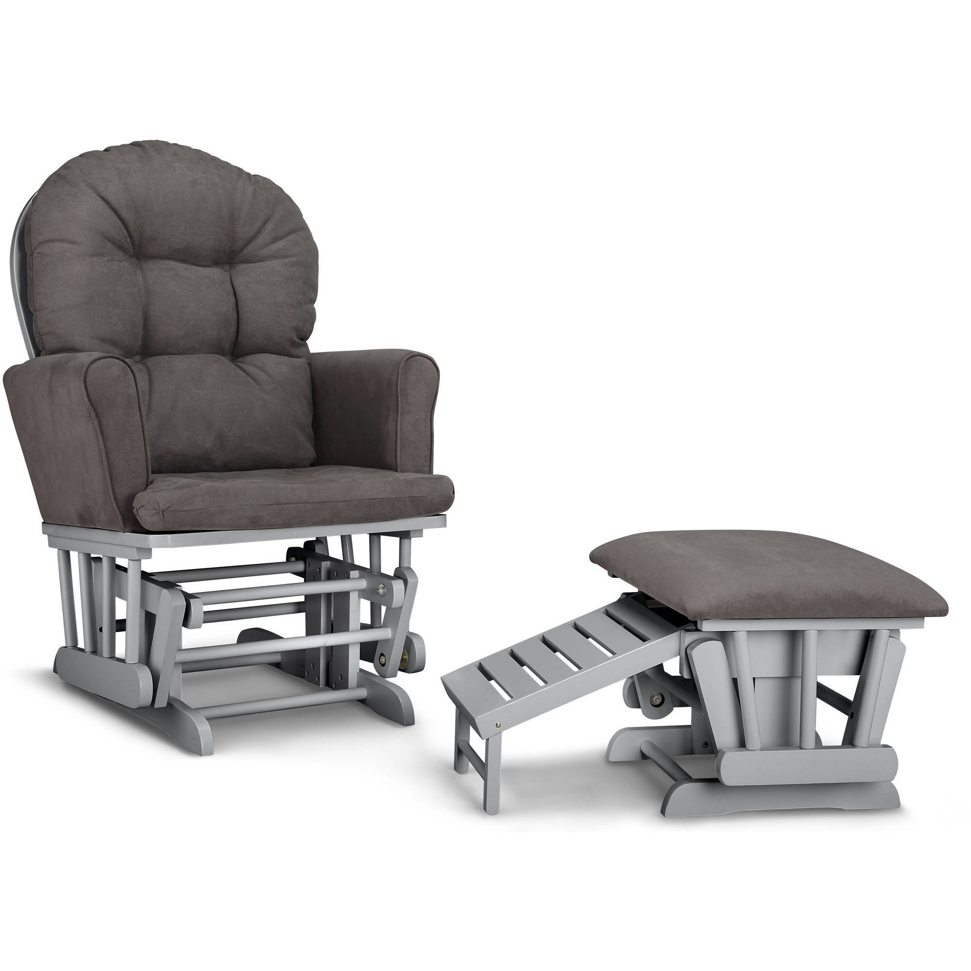 Beau Graco Parker Semi Upholstered Glider And Ottoman White With Gray Cushions    Walmart.com