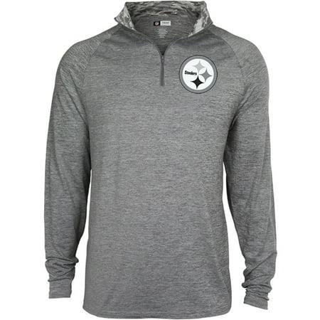 Men's Zubaz Gray Pittsburgh Steelers Space Dye Quarter-Zip Jacket