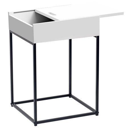 Contemporary Accent Table with drawer, White ()