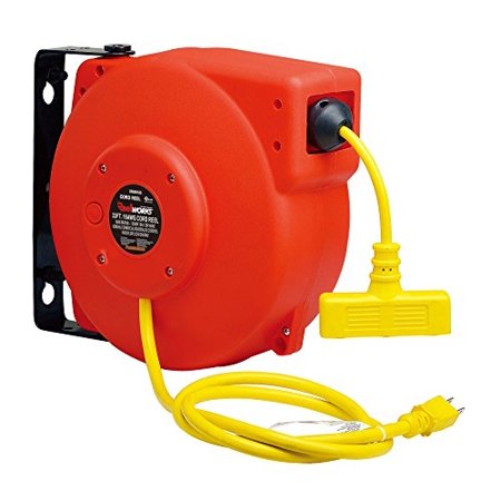 ReelWorks CR605103S4A Heavy Duty Extension Cord Reel, 16AWG/3C SJT, Triple Tap,