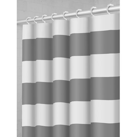 Maytex Smart Curtain Porter Stripe Fabric Shower With Attached Roller Glide Hooks