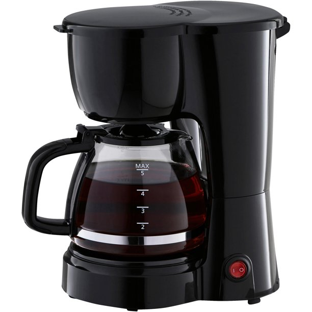 Mainstays 5 Cup Black Coffee Maker with Removable Filter Basket