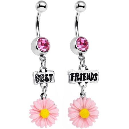 Body Candy Stainless Steel Pink Accent Best Friends Pink Flower Dangle Belly Ring