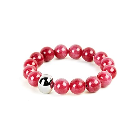 Cerise Jewelry - ELYA Cerise Dyed Jade and Stainless Steel Bead Stretch Bracelet