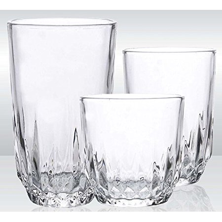 Glassware Drinking 18-Piece Set Water and Juice Best and Unique Drinking Glasses Set For Party Restaurant-Style ()
