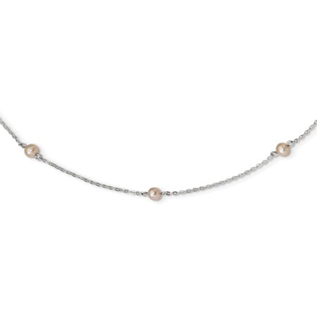 Sterling Silver Rh-plated Fresh Water Cultured Cream Color Pearl Necklace 16 Inch - image 3 de 3