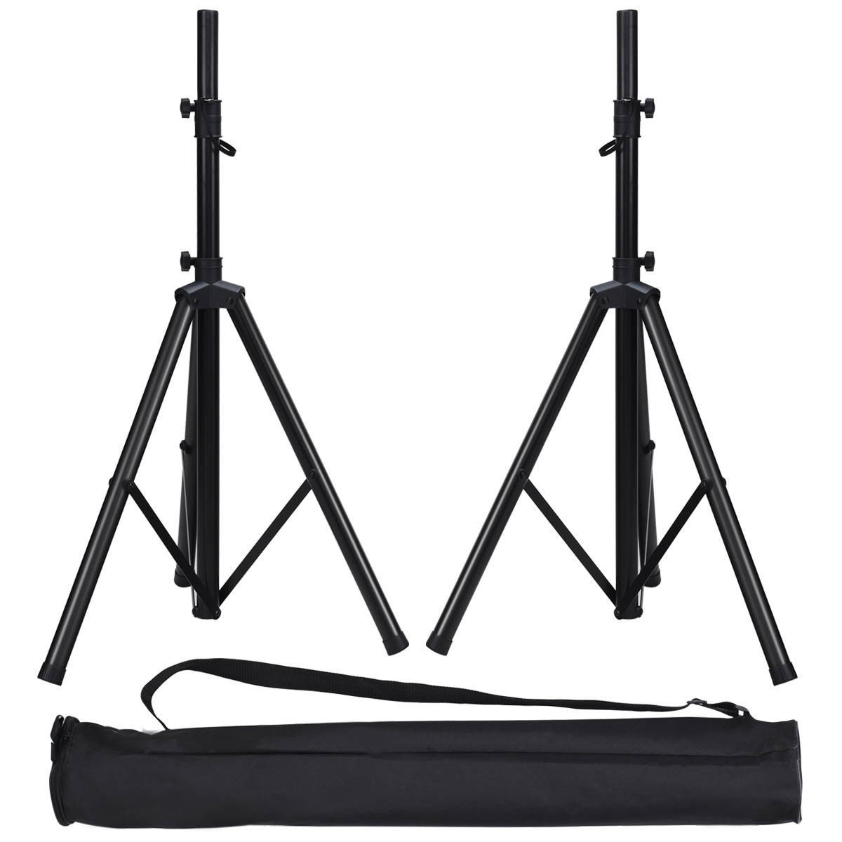 Gymax Pair Height Adjustable Tripod DJ PA Speaker Stands w/Carry Bag