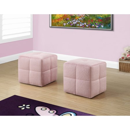 Fabulous Monarch Ottoman 2Pcs Set Juvenile Fuzzy Pink Fabric Machost Co Dining Chair Design Ideas Machostcouk