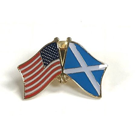 Box of 12 Scotland & US Crossed Flag Lapel Pins, Scotland St. Andrews Cross & American Double Friendship Pin - Cross Pins