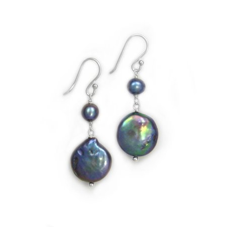 Sterling Silver Cultured Pearl Link Coin Pearl Drop Earrings, -