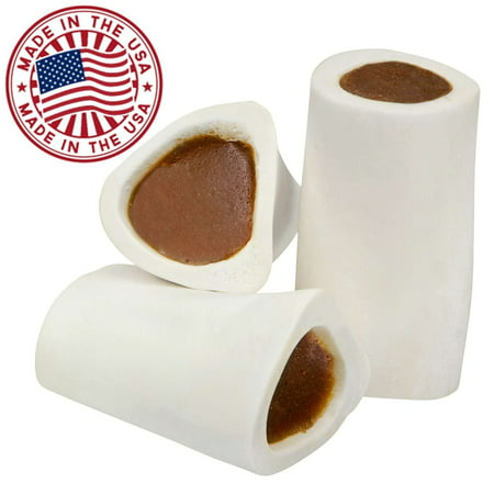 (Filled Dog Bones (Flavors: Peanut Butter, Cheese, Bacon, Beef, etc.) Made in USA Stuffed Bulk 3 to 6