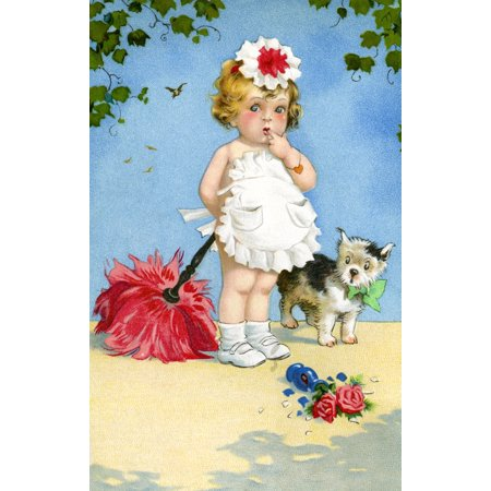 Maid Feather Duster (A little girl in a cute maid outfit holds a feather duster but both she and the dog are shocked at the broken flower vase on the ground Poster Print)