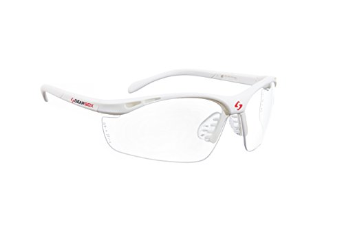 Click here to buy Gearbox Vision Clear Lens- Red Frame Racquetball Eyewear by Gearbox Sports.