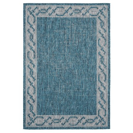 United Weavers Augusta Area Rugs - 3900 10063 Outdoor Aqua Curves Weaved Scratches Solid Rug