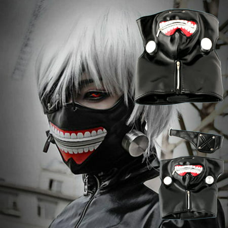 Adjustable Tokyo Ghoul Kaneki Ken Zipper Cosplay Masks PU Leather Mask