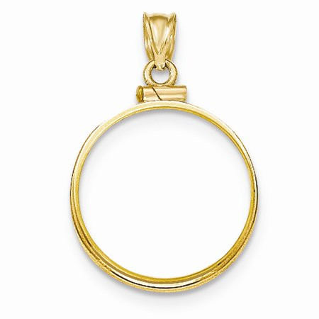 Roy Rose Jewelry 14k Yellow Gold Polished Screw Top 1/4 Panda Coin Bezel Pendant