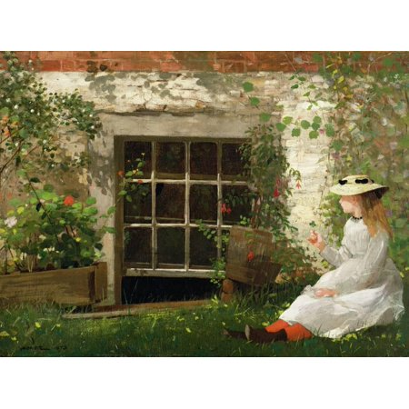 The Four Leaf Clover, 1873 19th Century Painting of Girl Print Wall Art By Winslow Homer (Four Leaf Clovers)