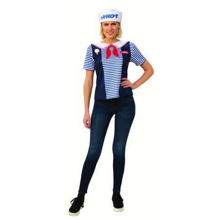 Robin Scoops Ahoy Uniform Stranger Things Season 3 Womens Adult Shirt Hat (70's And 80's Party Costumes)