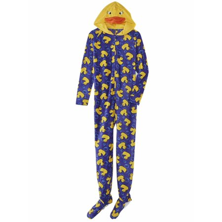 Joe Boxer Womens Blue Fleece Yellow Duck Footie Pajama Blanket Sleeper Onesie