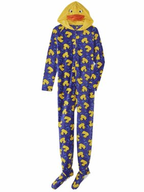 Product Image Joe Boxer Womens Blue Fleece Yellow Duck Footie Pajama  Blanket Sleeper Onesie a98b11bca