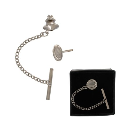 Men's Silver Tone Oval Crescent Tie Tack Pin Gift Boxed