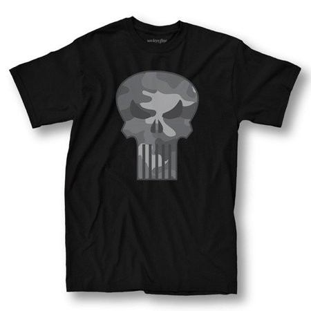 The Punisher Camo Logo Adult Black T-Shirt - The Punisher Suit