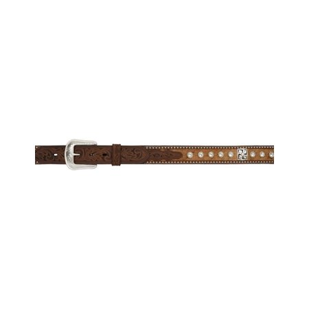 3D Belt Mens Western Leather Basketweave Crystal Concho Brown 9923