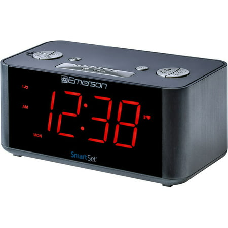Emerson SmartSet Alarm Clock Radio with Bluetooth Speaker, USB Charger for iPhone and Android and Red LED Display ER100201