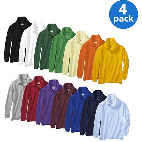 George Kids Long-Sleeve Cotton Polo Shirts 4-Pack Value Bundle (14 Colors Available)