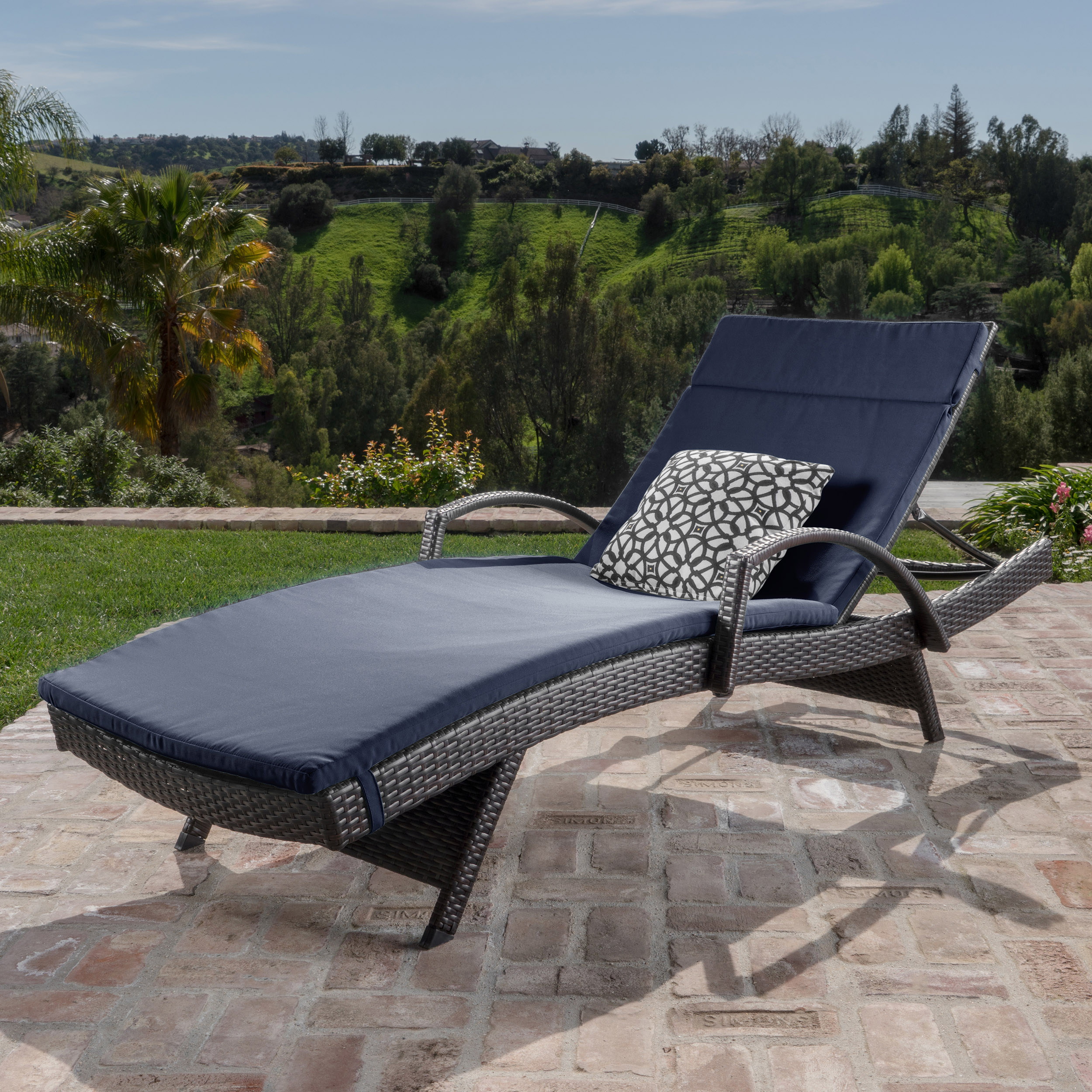 Anthony Outdoor Wicker Adjustable Chaise Lounge with Arms and Cushion, Navy Blue