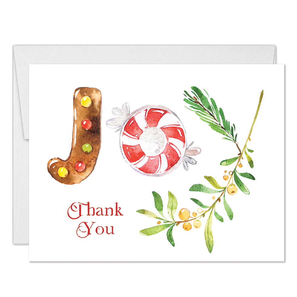 christmas joy thank you cards with envelopes pack of 25