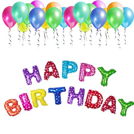 Happy Birthday Balloons Aluminum Foil Banner For Party Decorations And Supplies